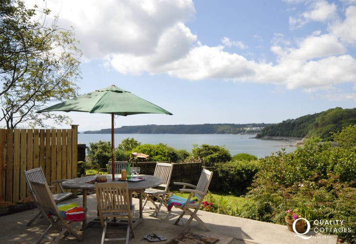 Enjoy stunning sea and coastal views from the patio towards Monkstone Point