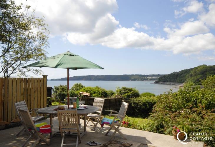 Enjoy stunning sea and coastal views from the patio towards Monkstone Point