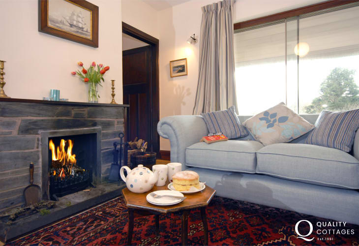 Holiday cottage Pembrokeshire - tea and cake by the fire