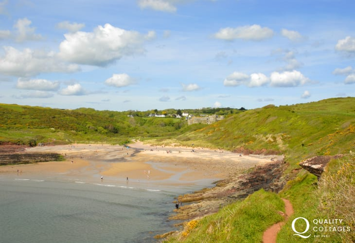 Manorbier Beach overlooked by the Castle is a firm favorite for beach combing and rock pooling at low tide