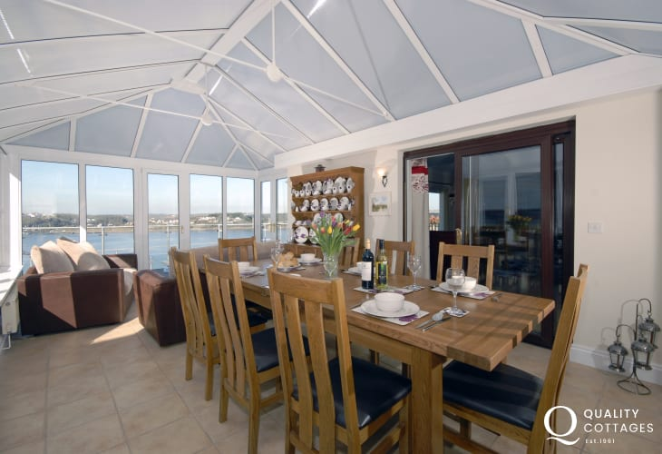Pembrokeshire National Park holiday home - conservatory/dining room with Haven views