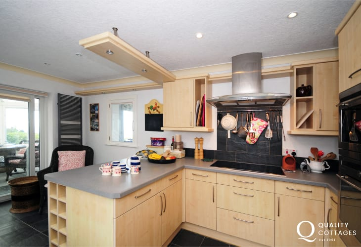 Kitchen area in dog friendly coastal holiday cottage,  Harlech, South Snowdonia, Wales.