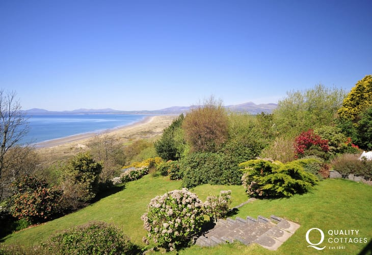 Large holiday cottage with sea views across the bay to the Llyn Peninsula and inland to Snowdonia - the garden.