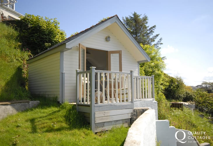 The cabin - a summer retreat in the garden with stunning views across the waterway