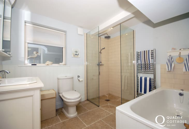 Pembrokeshire holiday home - family bathroom with walk in double shower