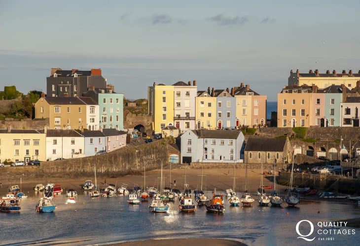 Tenby - a charming seaside town with cobbled streets, individual shops, pubs, restaurants, 5 golden sandy beaches and a picturesque harbour