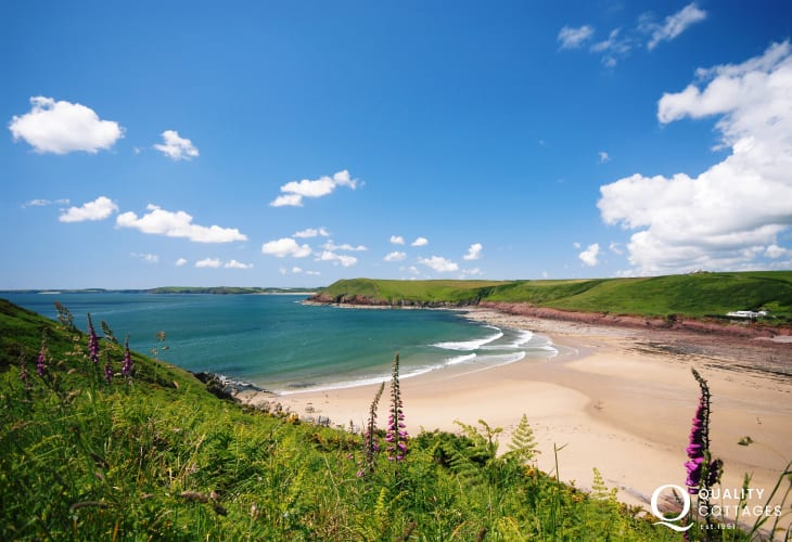 Manorbier - a lovely sheltered bay very popular with families and the locals