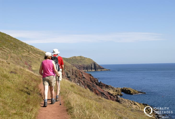 Enjoy fabulous  clifftop walks along the Pembrokeshire Coast Path nearby