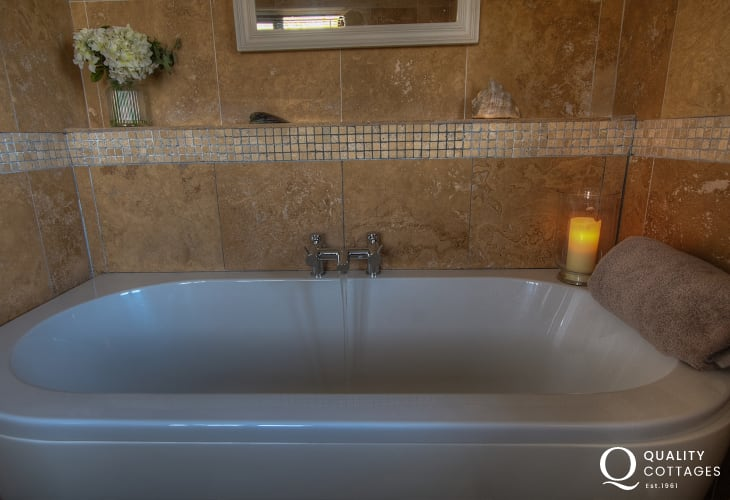 St Davids holiday cottage - luxury family bathroom with separate shower cubicle