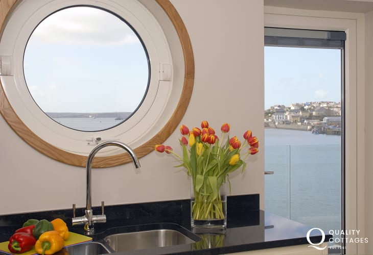 Fabulous river views through the kitchen port hole window