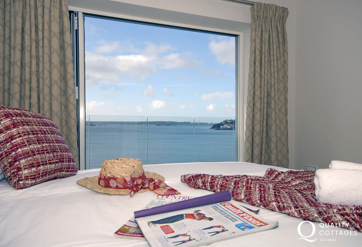 South Pembrokeshire holiday home master bedroom with fabulous river views