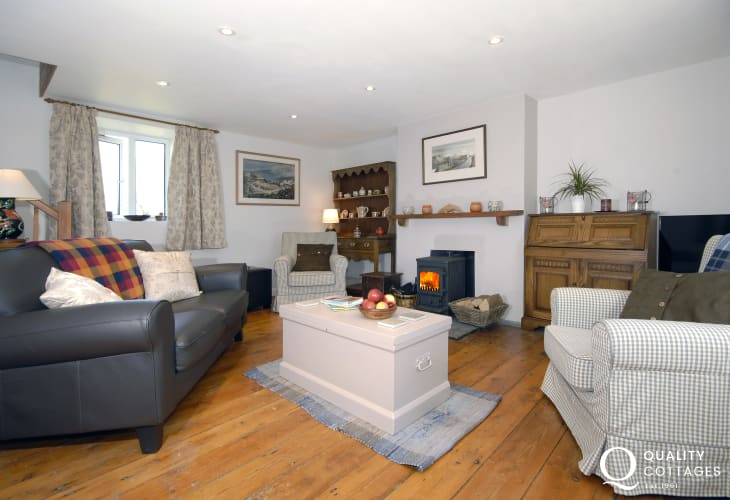 North Pembrokeshire cosy holiday cottage - sitting room with wood burning stove