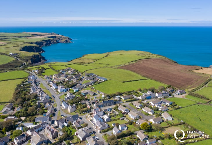 Aerial view of nearby village Trefin