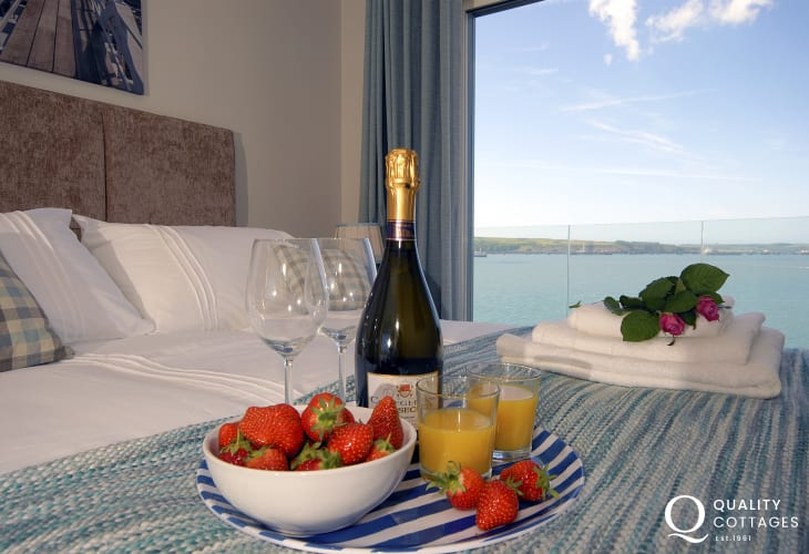 South Pembrokeshire holiday apartment master bedroom with river views