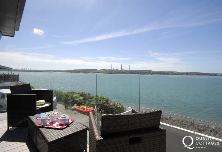 Fabulous views across the ever changing Haven Waterway from the deck