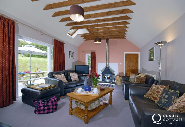 North Pembrokeshire holiday home - living room with log burning stove
