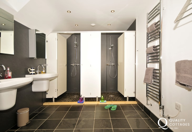 Devils Bridge holiday home-double shower