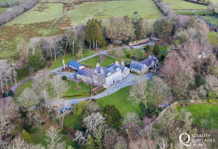 Aerial Shot of location of Plas Bryn Hir