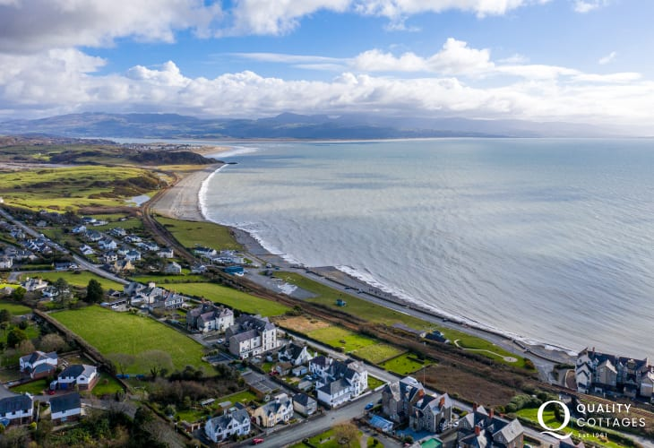 Aerial Shot of Criccieth and Coast