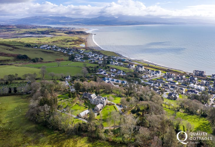 Drone View from Above Plas Bryn Hir over Criccieth and coastal views