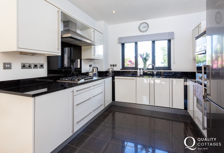 Large kitchen in Anglesey holiday accommodation