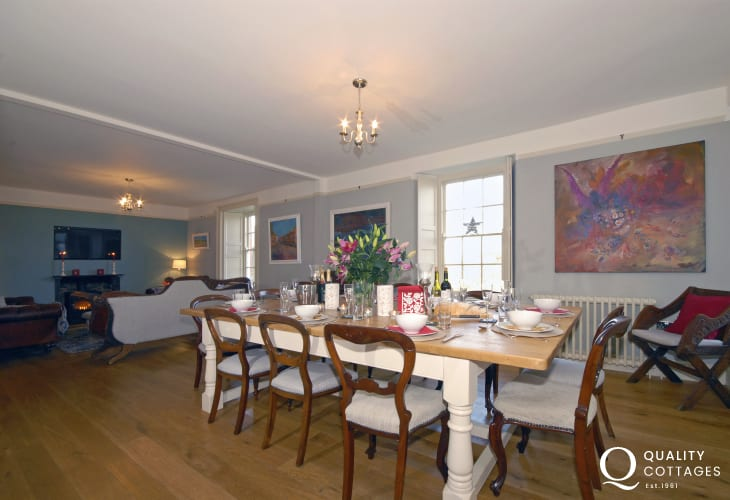 Porth Clais Pembrokeshire 18th century farmhouse - spacious dining/living room