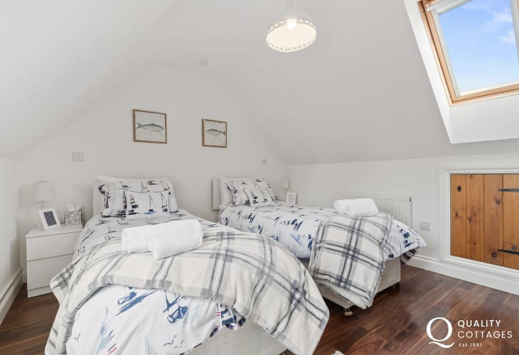 Twin bedroom with Velux window