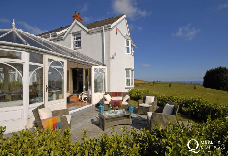 Patio area in the garden of luxury farmhouse holiday cottage near Tenby, Pembrokeshire