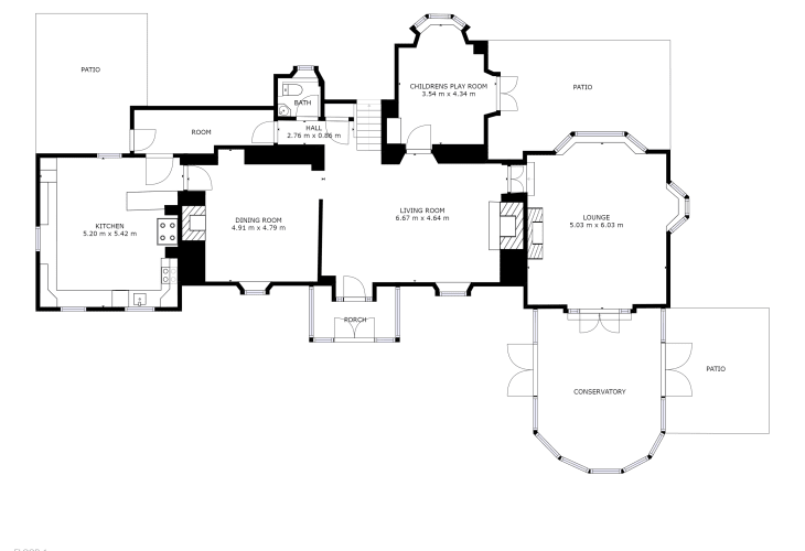 Downstairs floor plan for Bay View House holiday cottage to rent near Tenby