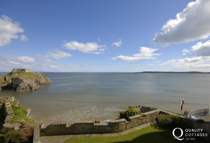 Views to Caldey Island and St Catherine's Fort from the master bedroom