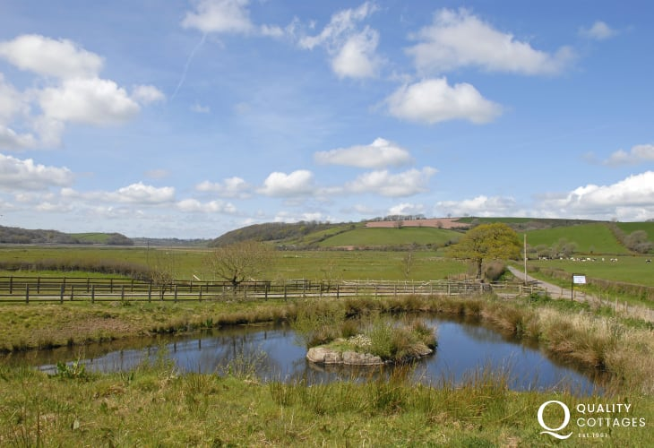 Carmarthenshire holiday home with large pond in the grounds - care with children