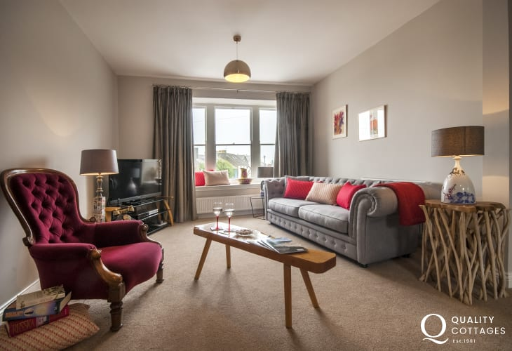 St Davids City holiday apartment with spacious living room - dogs welcome