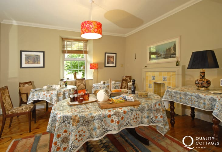 Enjoy a full Welsh breakfast in the dining room at Ty Llwyd Farm B & B next door