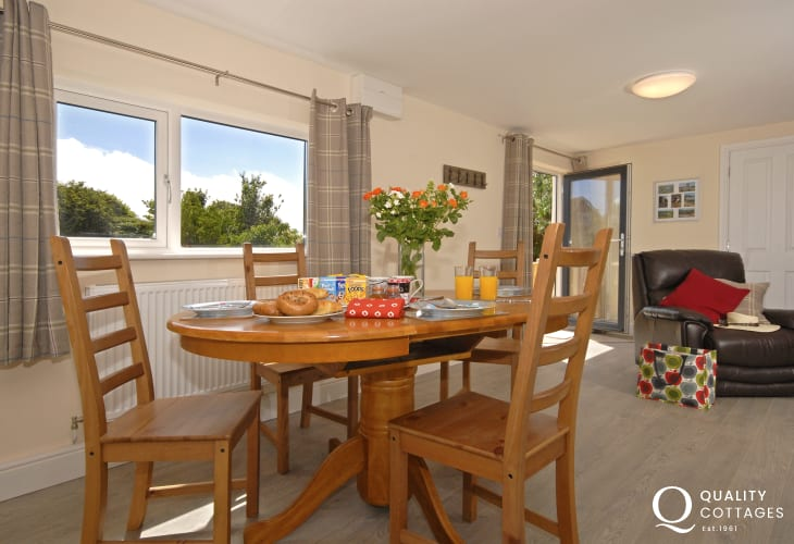 Dining room of holiday cottage apartment in St. Davids, Pembrokeshire.