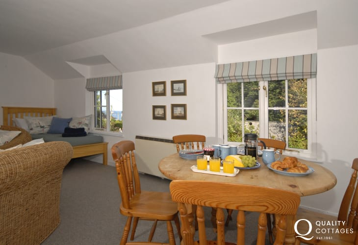 Gwaun Valley visit while on holiday - sitting room dining table and chairs sea views