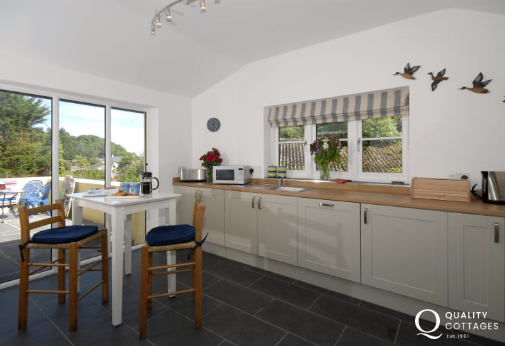 Nearby Dinas Cross small village - kitchen hob and electric oven, dishwasher and breakfast table