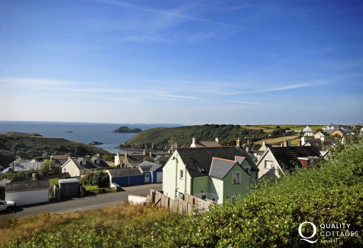 Pet friendly Solva holiday home with garden and sea views over St Brides Bay