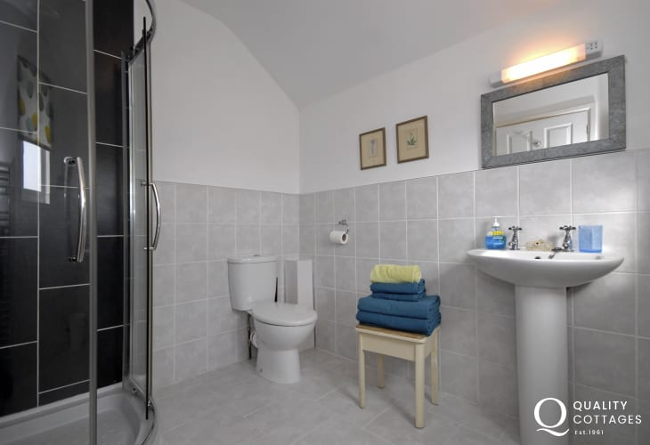 Solva holiday cottage - master en-suite shower
