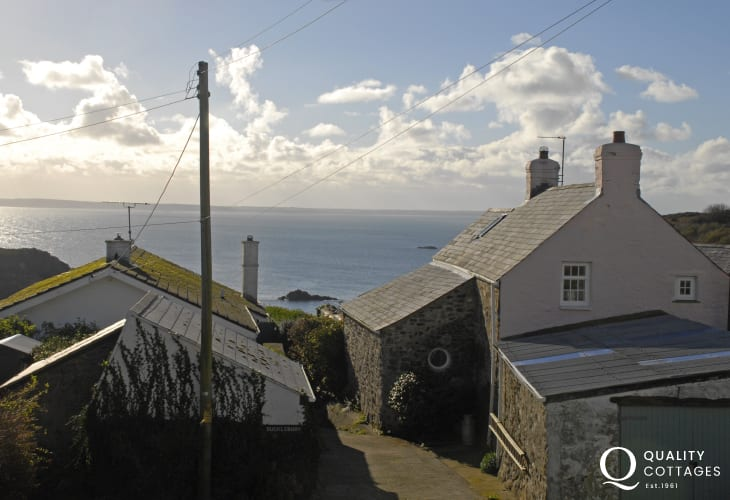 Views over St Brides Bay from the master and single bedrooms at Fishermans Cottage, Solva