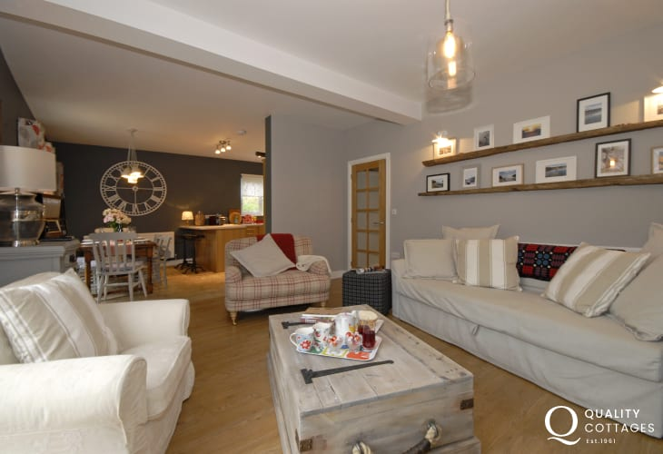 Newport, Pembrokeshire stylish holiday home - lounge with wood burner, Freeview TV and Wi Fi