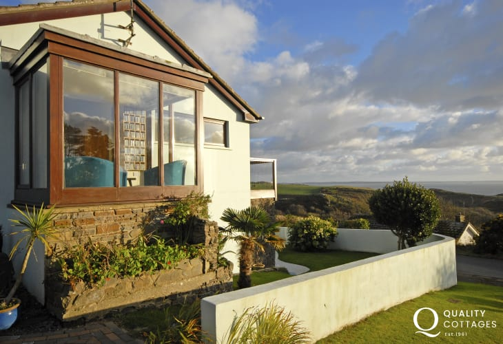 Upper Solva holiday home terrace with sea views over St Brides Bay