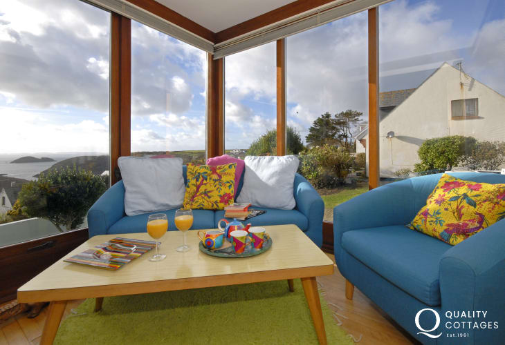 Solva holiday home - sunroom with views over St Brides Bay