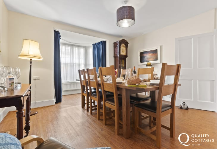 St Davids Peninsula holiday house - spacious dining room with Grandfather Clock