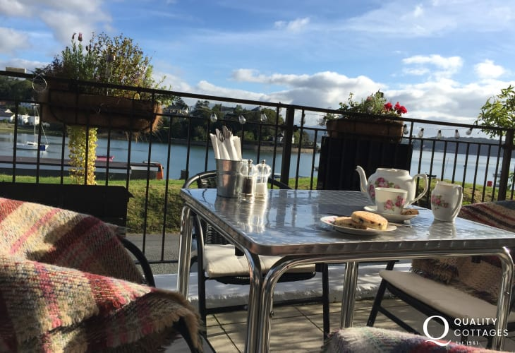 Moorings Bistro overlooking the beautiful and tranquil bay of Borth-y-Gest