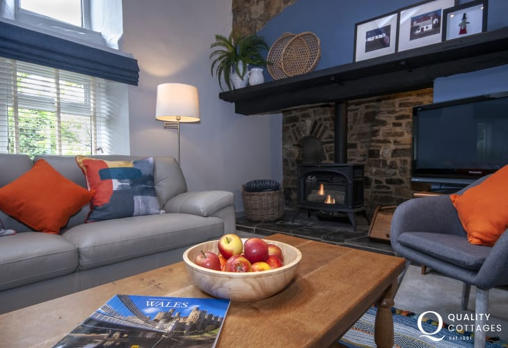 Traditional Welsh stone cottage to rent near Aberaeron with gas log burning stove