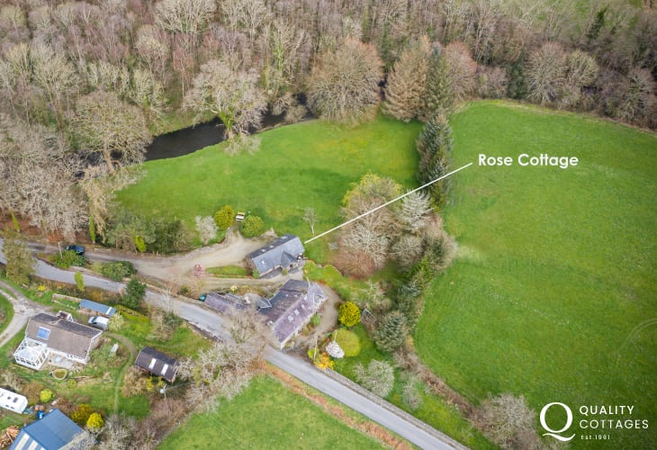 Aerial view of Rose Cottage close to the River Aeron