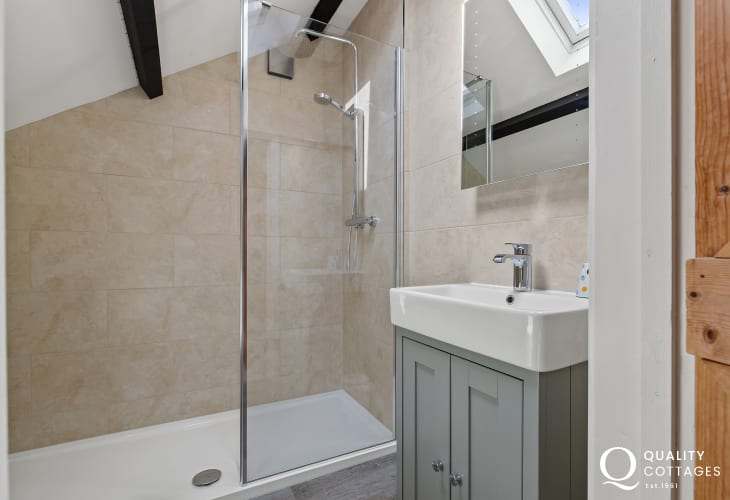Bathroom with walk in shower, basin and toilet