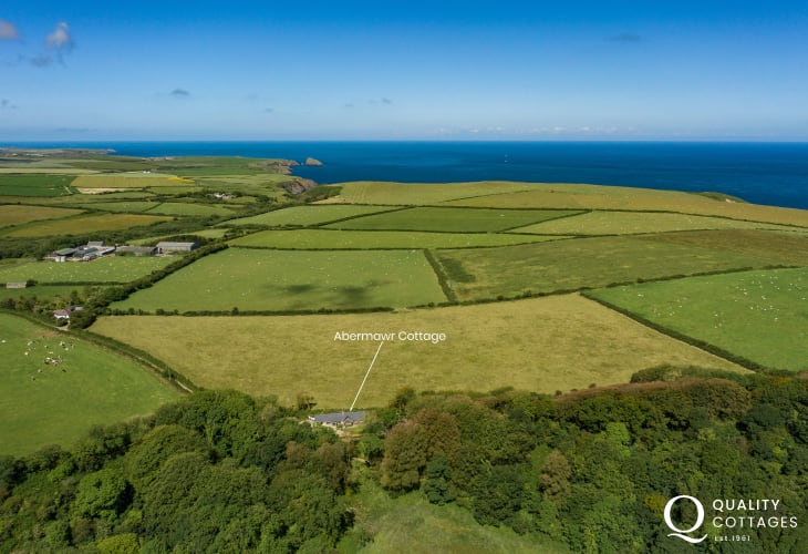 Aerial view of Abermawr cottage location
