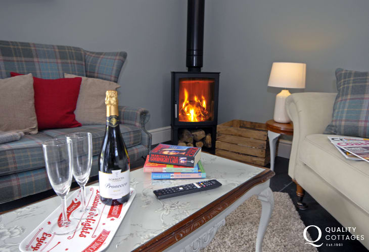 Relax by the wood burning stove at Porthclais Lodge