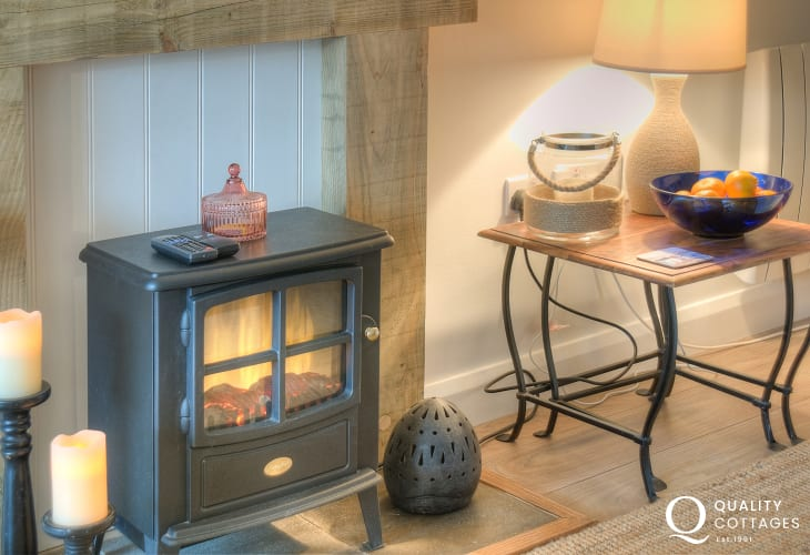 Pet free cottage on the beach Wales - fire